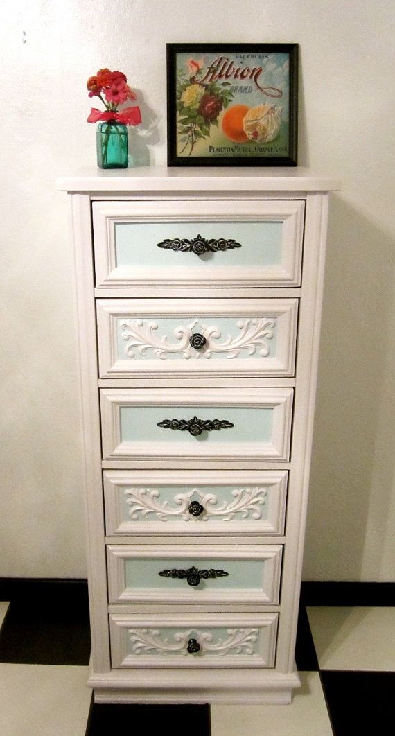 White Vintage Lingerie Chest / Dresser with by FrenchVanillaEtc