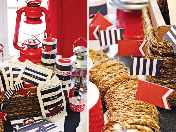 Nautical Table Setting Ideas | Americana Nautical Low Country Boil Crab
