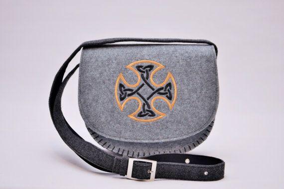 Irish Celtic Cross design felt handbag and purses by CelticSecrets