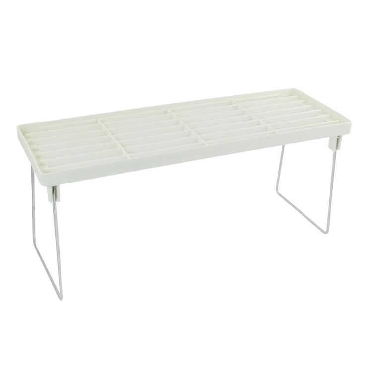 Unique Bargains Kitchen Home Desk Table White Silver Tone Plastic Shelves Rack Storage