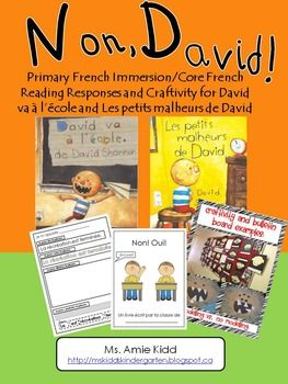 "The following document is in French. It is a 30-page ""No David"" unit, which focuses on words and expressions used in the stories, retelling and describing details of the story, classroom rules and a craftivity to tie it all together and create a cute bulletin board display."