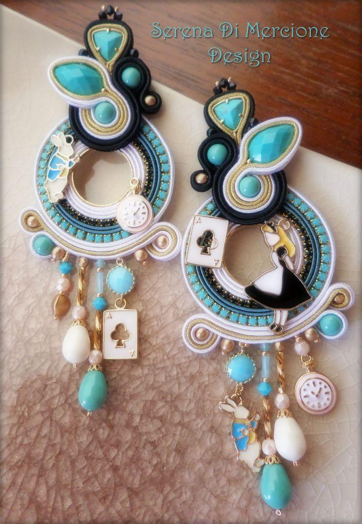 """Alice in Wonderland"" Soutache Earrings by Serena Di Mercione"