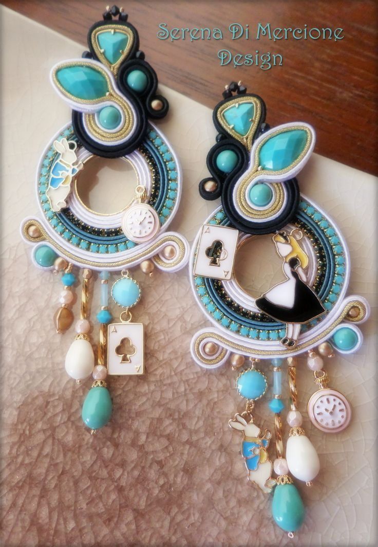 """Alice in Wonderland"" Soutache Earrings by Serena Di Mercione"