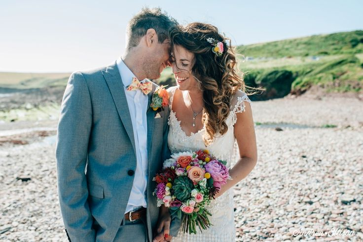 The Chilled Out Castle & Beach Wedding Manorbier Castle Pembrokeshire wedding in a Jenny Packham dress