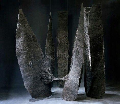 Magdalena Abakanowicz, Tripartied Black Abakan / Abakan Trójczęściowy Czarny on ArtStack #magdalena-abakanowicz #art