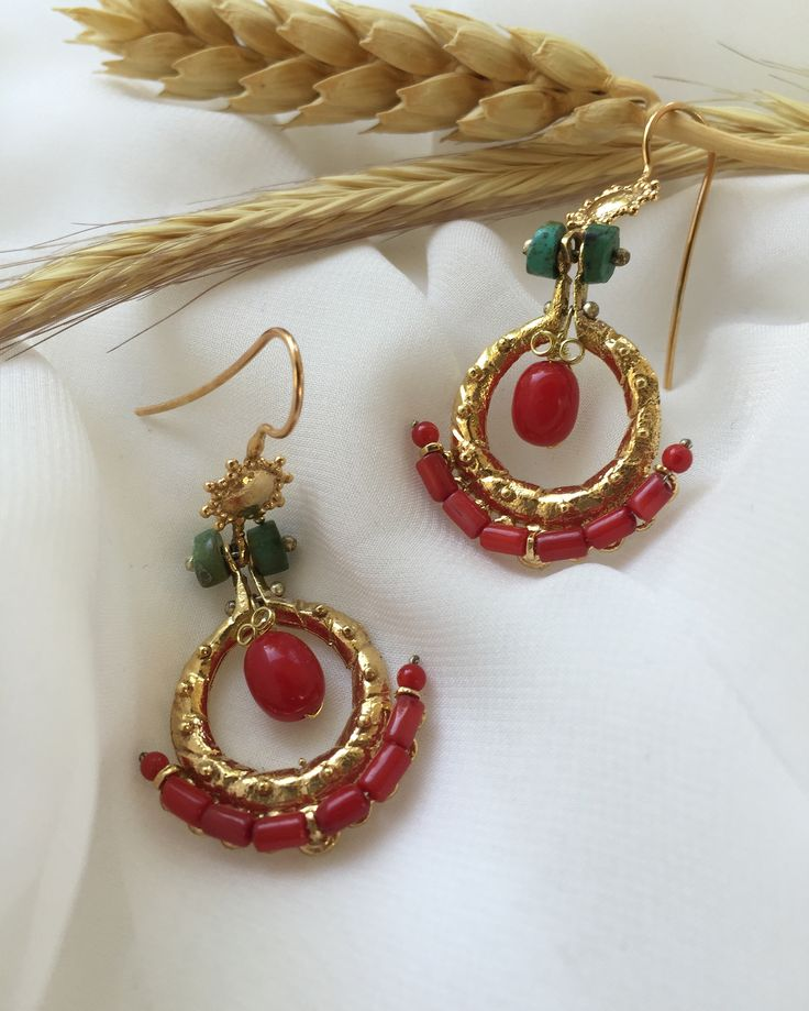 Türkmen Earrings silver/gold plated with coral and turquoise stones