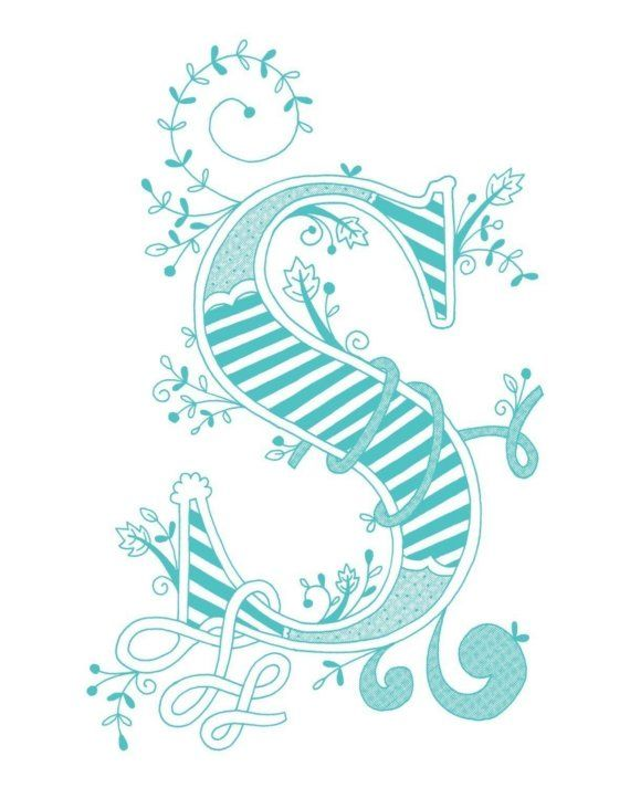 Hand drawn monogrammed print 8x10 the Letter S in by jenskelley