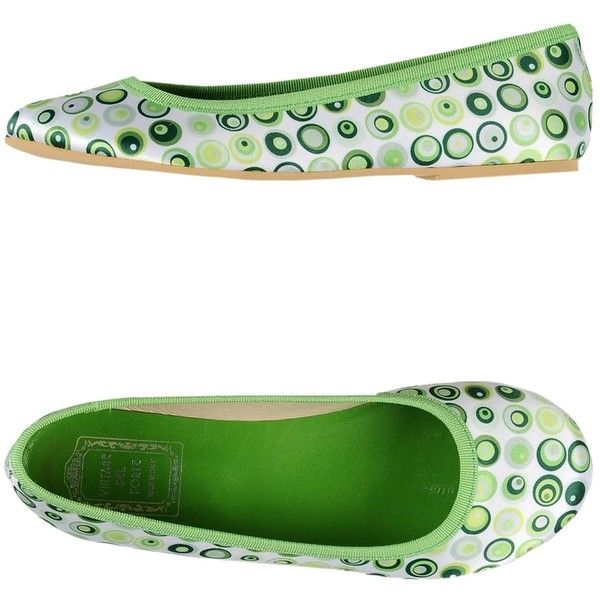 Vintage Del Forte 1973 Ballet Flats ($26) ❤ liked on Polyvore featuring shoes, flats, green, round toe ballet flats, green ballet flats, ballet pumps, green flat shoes and flat pumps