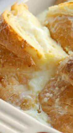 Baked Croissant French Toast with Lemon Cream Cheese ~ Super delicious and super easy to make the night before then just pop it in the oven for a scrumptious breakfast