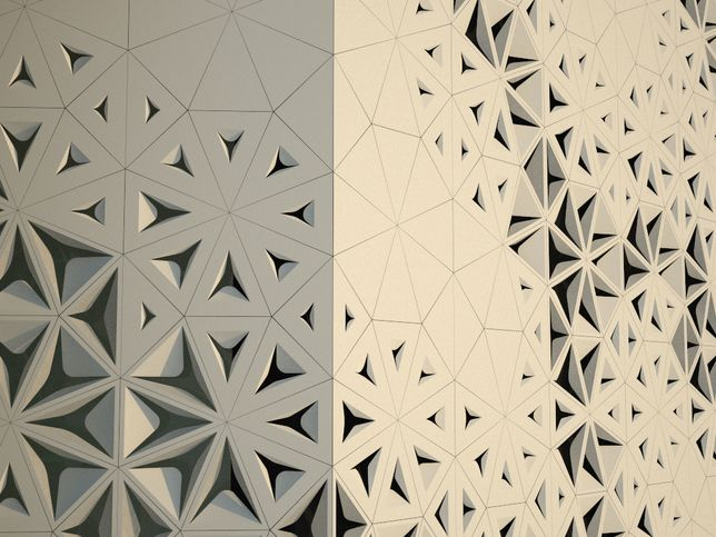This building looks like paper, I imagine the holes opening and closing to form waves.