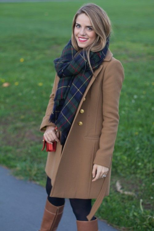 tartan, camel and red lips
