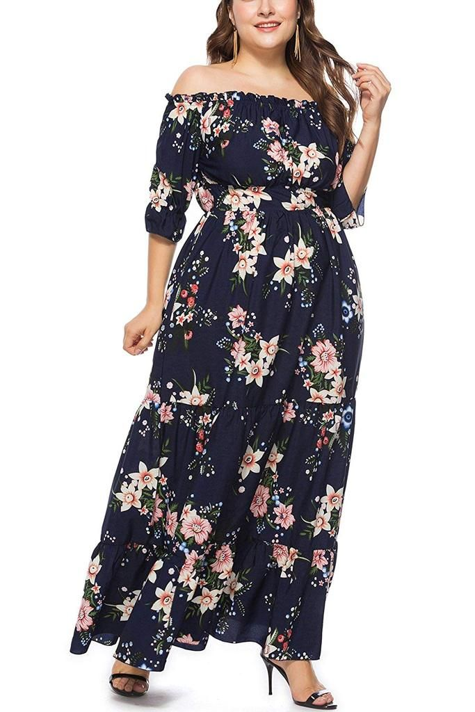 New Ladies Maxi Dress Plus Size Womens Floral Rose Print Long Length Nouvelle