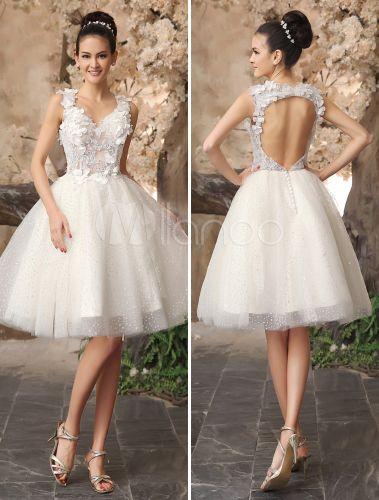 Marfil Vestido de novia con escote en corazón y diseño hueco - Milanoo.com