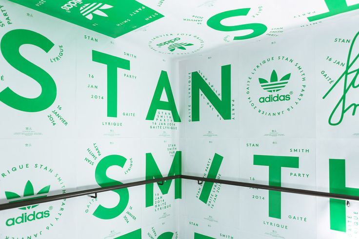 """Print Materials for Adidas by My name is """"Invitation and set of posters for Adidas. Stan Smith's release party at The Gaité Lyrique (Paris). Art direction, graphic design and production. 2014."""" My name is — is a design studio based in Montmartre,..."""