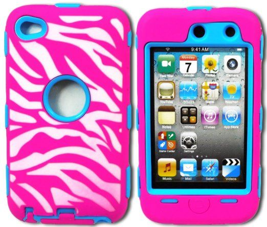Amazon.com: myLife (TM) Hot Pink + Sky Blue Zebra Stripes Hybrid Survivor (Built In Screen Protector) Case for iPod 4/4S (4G) 4th Generation...