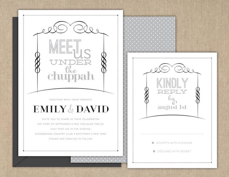 Wedding Invitations / Jewish Wedding Invitation / Meet Us Under The  Chuppah. $50.00, Via