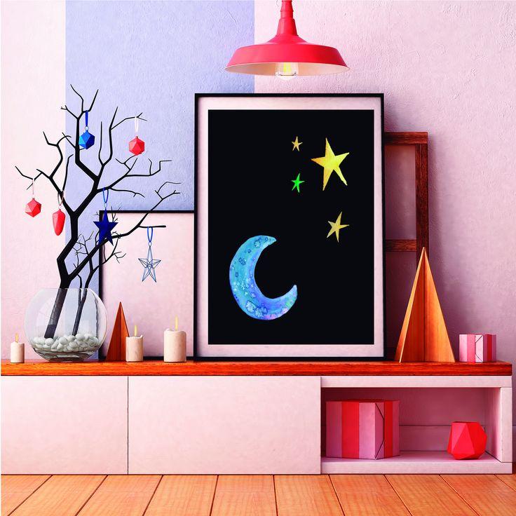 Precioso poster de la luna y estrellas en acuarela perfecto para decoración de dormitorios infantiles o cualquier rincón que necesite un poquito de magia http://etsy.me/2FiZ9Ig