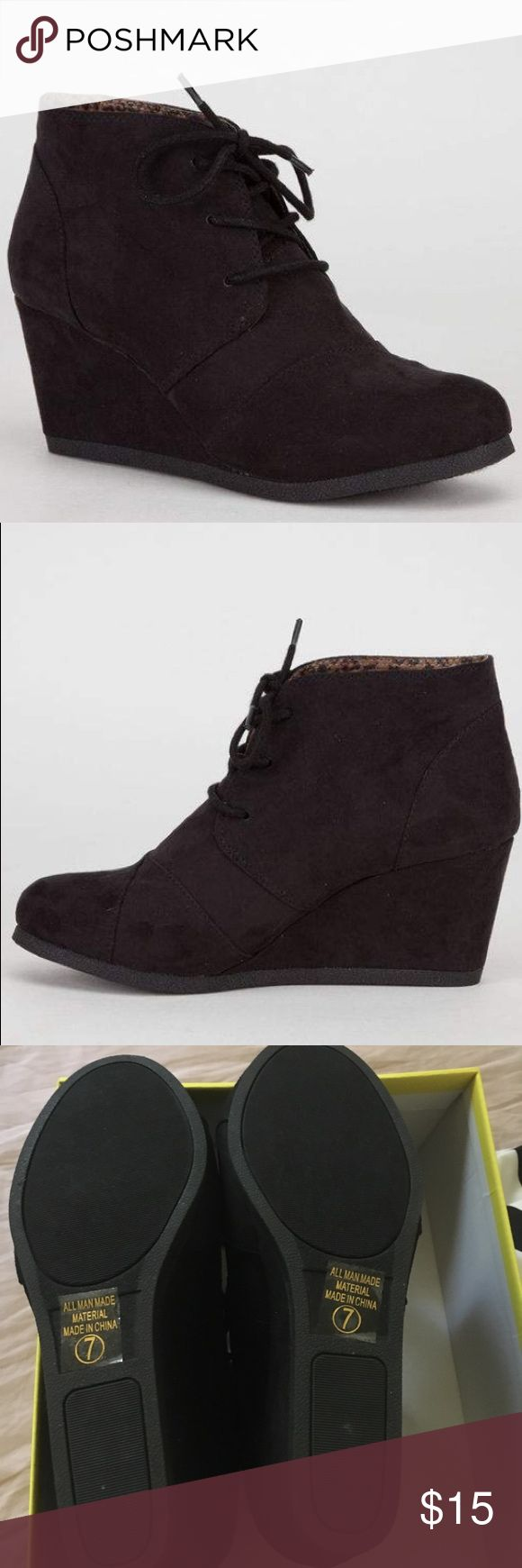 Booties Black Wedge Booties. New with shoe box. Size 7. city classified Shoes Ankle Boots & Booties