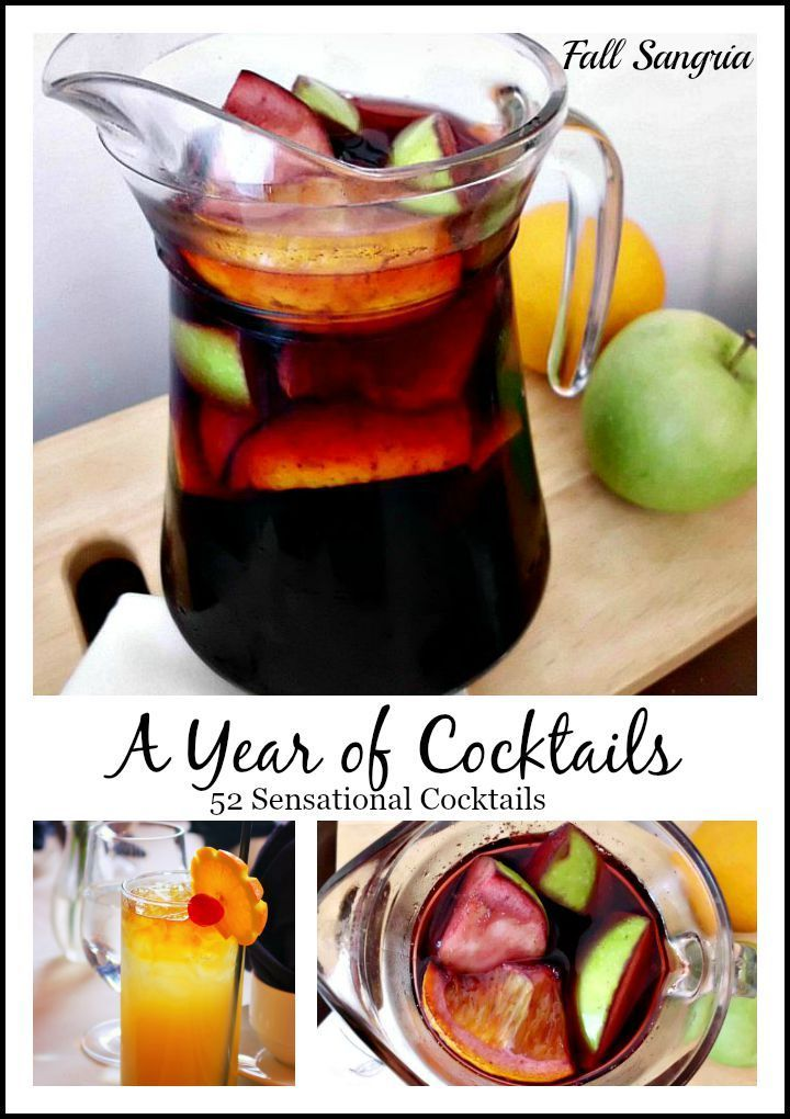 """This Fall Sangria from """"A Year of Cocktails"""" 52 sensational cocktails for sipping throughout the seasons!  http://www.myturnforus.com/2015/08/fall-sangria-from-pink-recipe-box.html"""