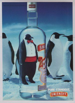 Smirnoff vodka '90s PRINT AD penguins tuxedo advertisement 1994