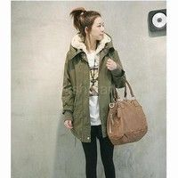 Wish | New Winter Women's Fleece Parka Warm Coat Hoodie Zipper Overcoat Long Jacket Army Green  G0081_1 |42201