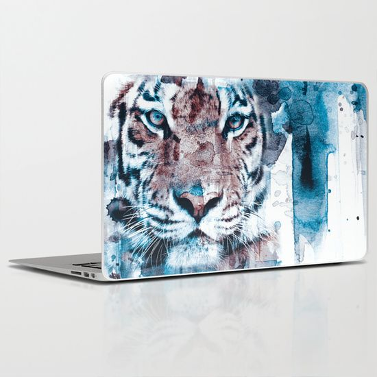 watercolor, tiger, animal. wild, blue, white isolated