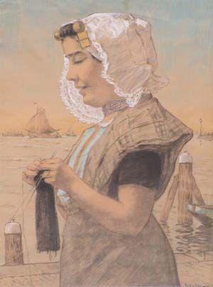 Zuid-Bevelandse schone aan de haven-Jacobus van Rossum(1856-1917)