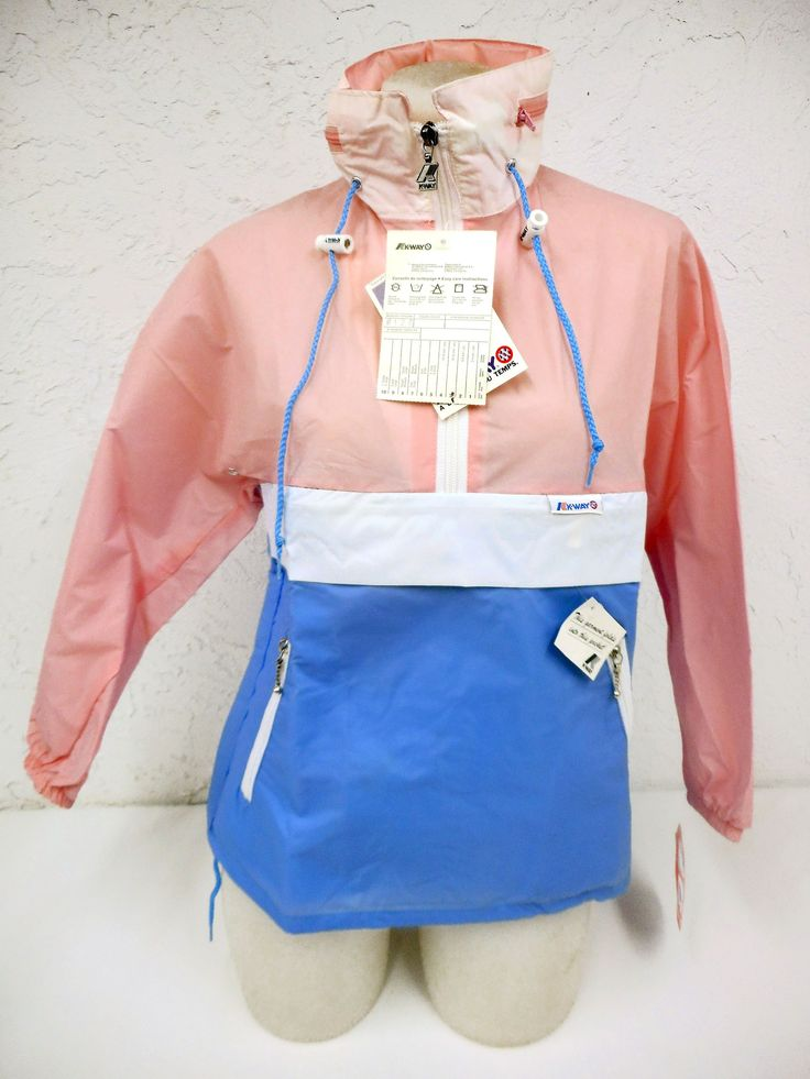 Vintage 1980s K-Way Kway Jacket Windbreaker, Size 3 Girls 10-12 Years Old, Zip Up Waterproof Raincoat, Pink White Blue, NOS New Old Stock