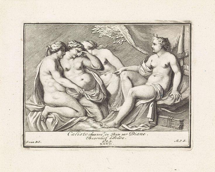 Matthijs Pool | Bas-reliëf met Diana en Callisto, Matthijs Pool, 1727 | Diana ontdekt dat Callisto, één van haar nimfen, zwanger is van Jupiter. Ze wijst beschuldigend naar Callisto, wier kleren door nimfen uitgetrokken worden. Midden onder genummerd: XXVII.