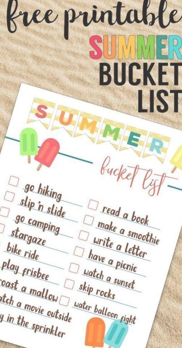 Bucket List Vorlage Free Printable Summer Bucket List Ideas Template Family Bucket List In 2020 Summer Bucket List Printable Bucket List For Teens Summer Bucket Lists