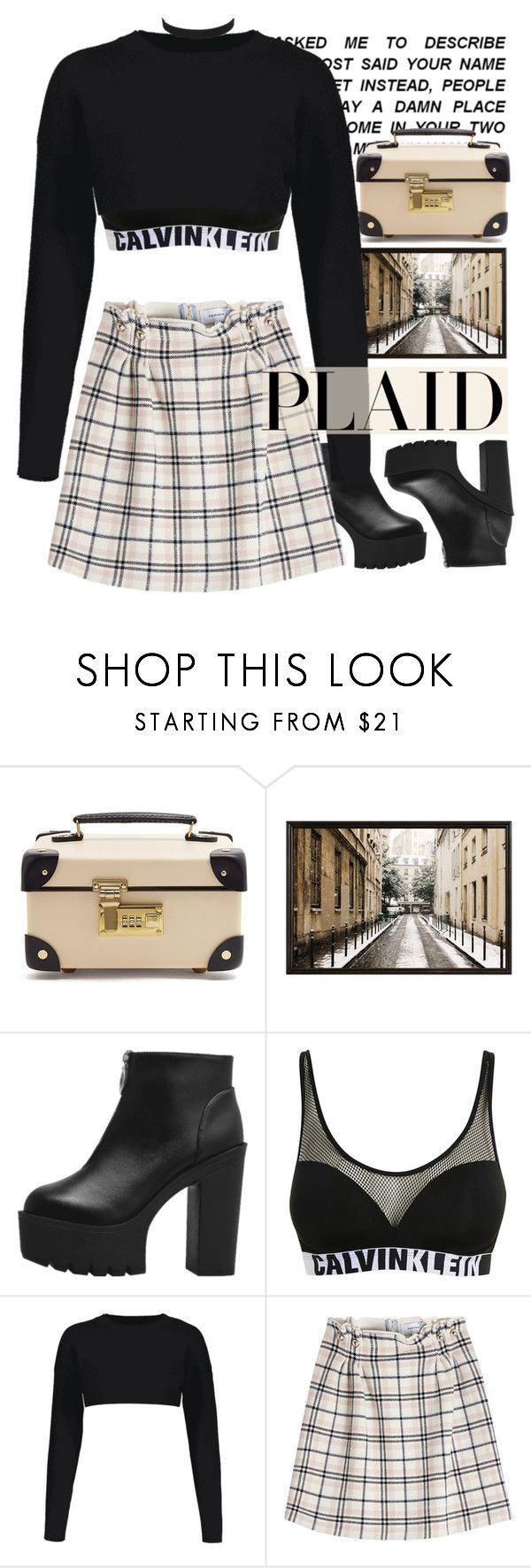 """""""Plaid skirt with ZAFUL"""" by holy-k17 ❤ liked on Polyvore featuring Globe-Trotter, Pottery Barn, Calvin Klein, Carven, plaid, autumn and zaful"""