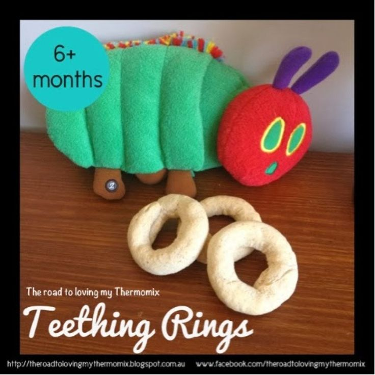 My 5 month old isn't all that coordinated holding rusks but give him a ring shape and he is set. These are perfect for him to hold on to and try to munch on.  My rusk recipes:  Teething Rings Oatmeal Rusks Banana Biscotti Rusks
