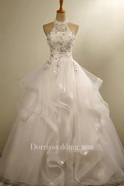 1a216250456 Ball Gown Halter Tulle Lace Organza Dress - Dorris Wedding