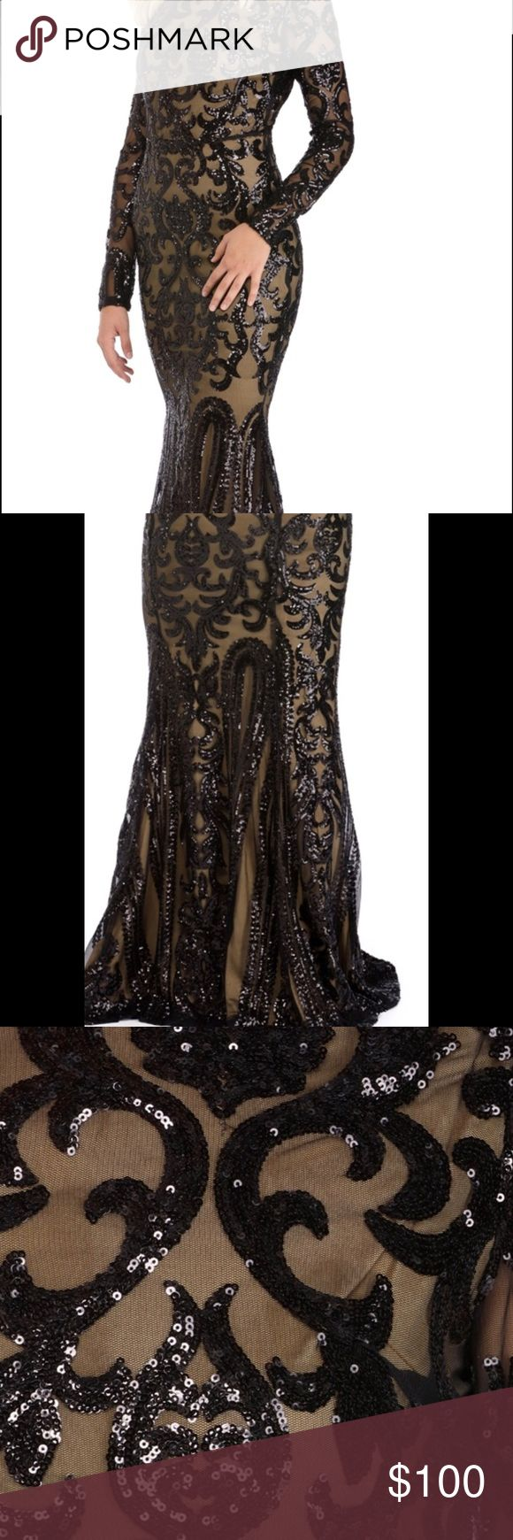❌❌SOLD❌❌ Black and Nude Sequin Dress Rule the night in this beautiful two tone dress, mock neck, long sleeves, a sheer mesh-like overlay and an alluring mermaid fit. She has a scroll pattern with sequin detailing, a contrasting sleeveless nude lining and floor length. WINDSOR Dresses Long Sleeve