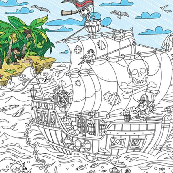 Coloring Poster For Kid Pirates