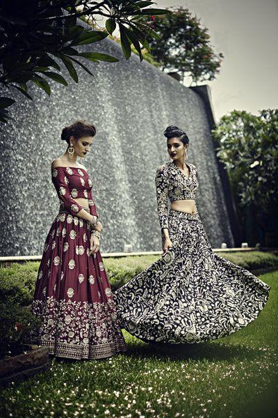 Payal Singhal bridal collection, wine wedding lehenga, motifs wedding lehenga, black and gold wedding lehenga, lehengas for bride to be