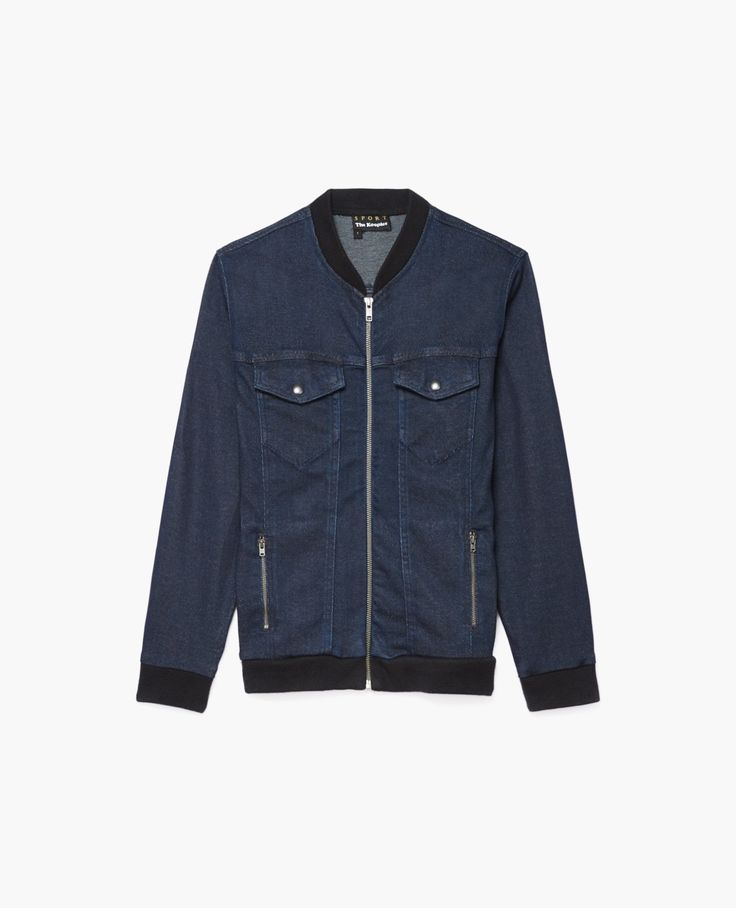Denim jacket-style duffel sweatshirt
