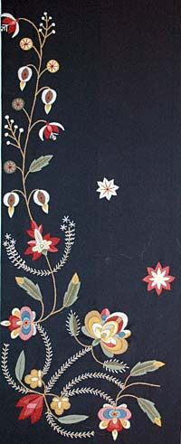 Embroidery of Løland. The pattern was reconstructed from a shawl found on the farm Løland in Suldalslågen.