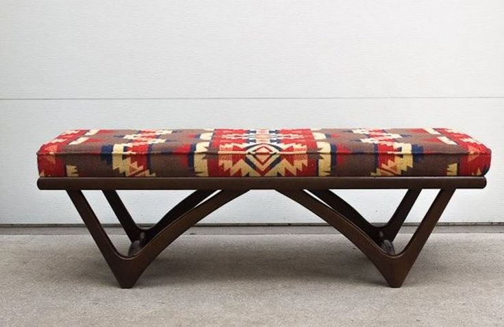 Furniture , Best Upholstered Bench : Upholstered Bench With Aztec Pattern Fabric