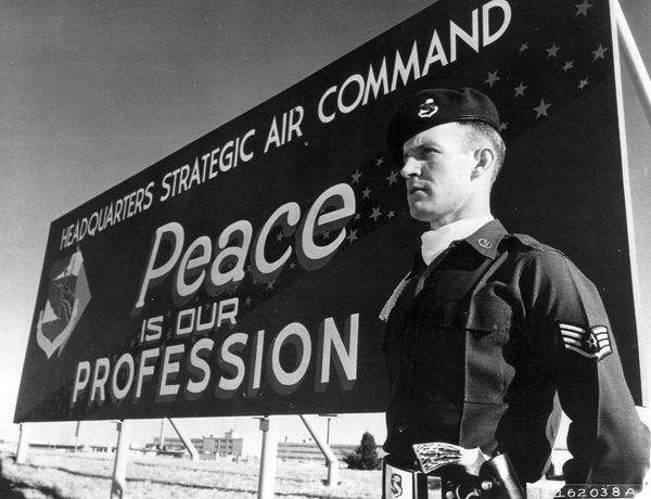 In order to protect itself and its allies from the Red Menace, the United States created the Strategic Air Command (or SAC) in 1946. The Command was responsible for a network of military bases and all of the atomic weapons of the United States. Two years later, Nebraska became a major player in the Cold War with the selection of Offutt Air Force Base, near Bellevue, Nebraska, as the world headquarters for SAC.