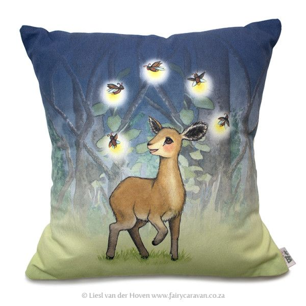 Kiki and the fireflies scatter pillow cover