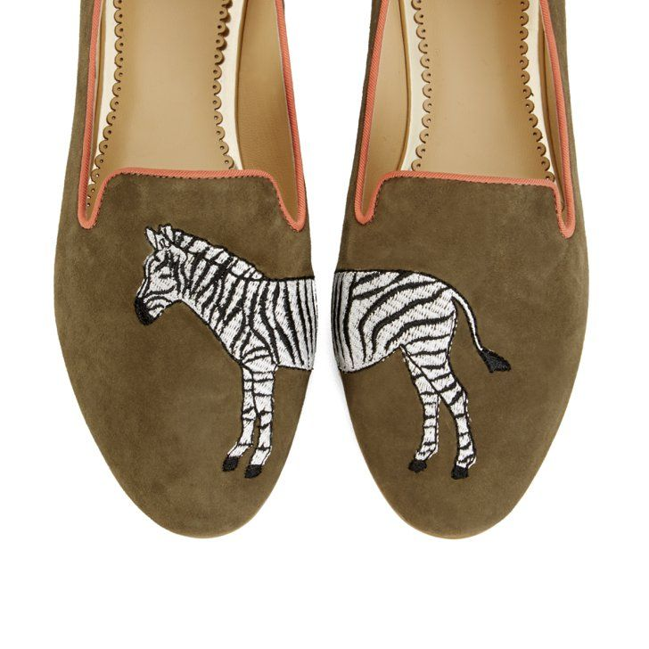 Pin for Later: Trop choute ces pantoufles flamands roses !  Zebra Suede Smoking Slippers ($138)