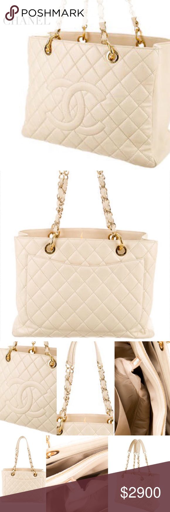 "Chanel Grand Shopping Cream Quilted Leather Chanel Grand Shopping quilted caviar leather tote w gold-tone hardware, dual chain-link & leather shoulder straps, embossed CC logo at front face, ext pocket, beige grosgrain lining, dual pockets at int wall; 1 features zip close, mid zip compartment & open top. Approx Measurements: Shoulder Drop 10"", H: 10.5"", W: 14"", D: 5.5"" Condition: Excellent! All pics show condition wear at ext/int; faint hardware surface scratches. Posh will authenticate for…"