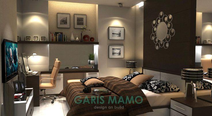 Desain kamar tidur + meja kerja (Apartemen)  http://jasadesaininteriorbogor.wordpress.com http://animasi3d-desain.web.id