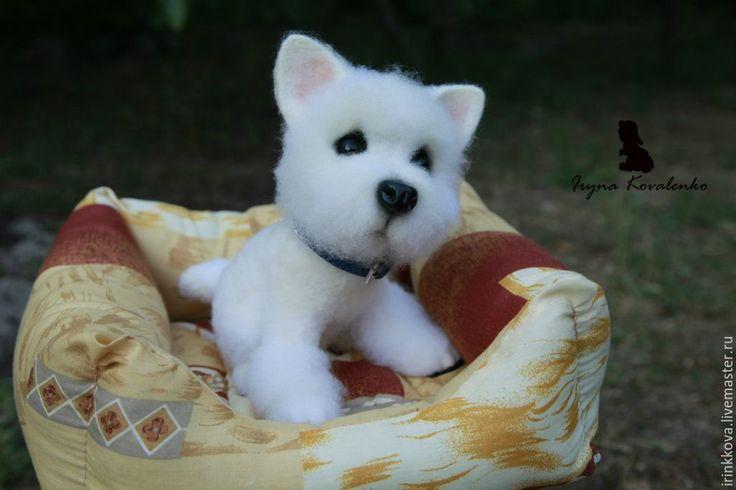 Купить Вилли - белый, собака, собака игрушка, собака из шерсти, собака из войлока, терьер Needle felting, felt toys