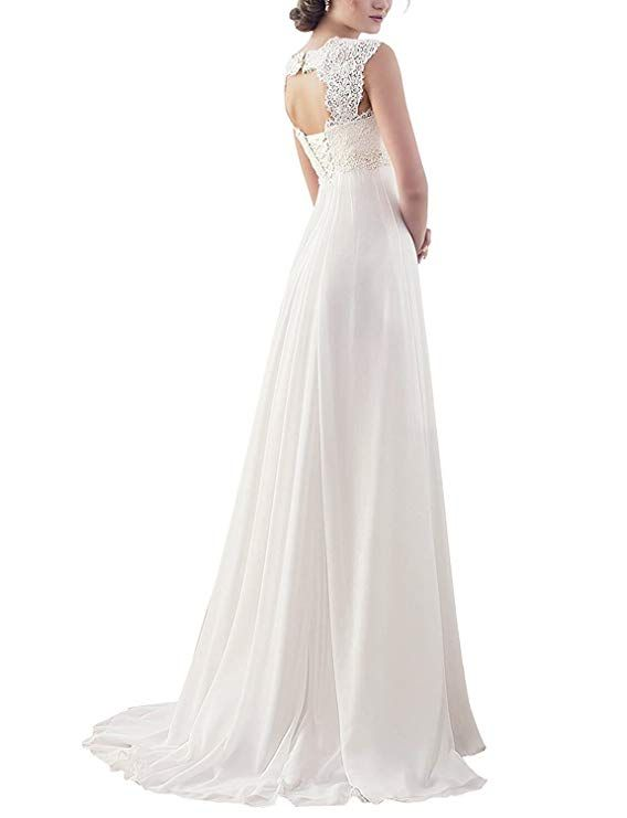 9437464f435 Ladies Sleeveless Lace Chiffon Dinner Wedding Bridal Gowns--Wedding dress