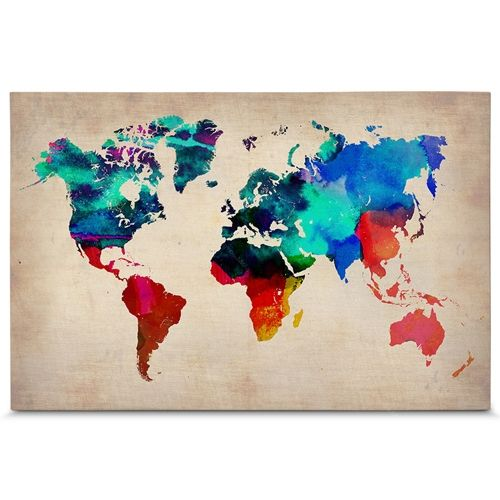 Quadro em canvas mapa do mundo aquarela compre quadros for Mapa del mundo decoracion