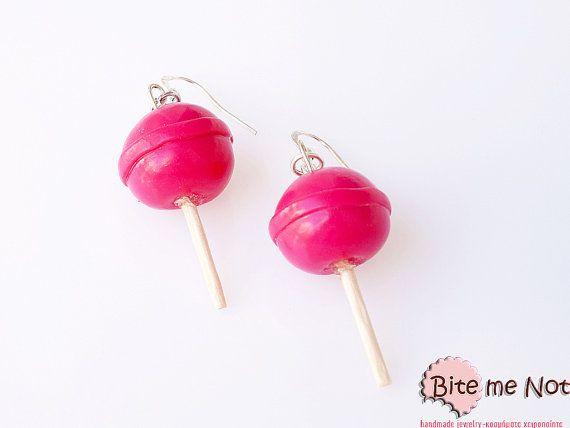 Hot Pink Lollipops Earrings Candy Earrings Candy by BiteMeNot