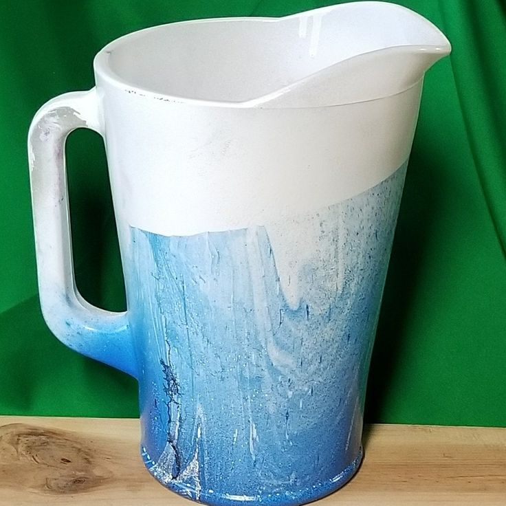 Hand Painted Blue and White Glass Pitcher. Large 64 Ounce pitcher. Would make a fantastic housewarming gift or wedding gift!