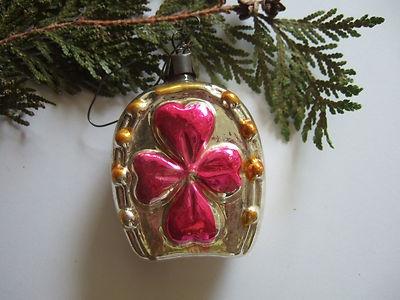 Vintage Antique Horseshoe 4 Leaf Clover Christmas Ornament
